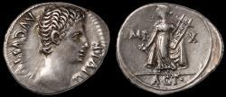 Ancient Coins - Augustus Ar. denarius (15 - 13 BC) – Actium victory